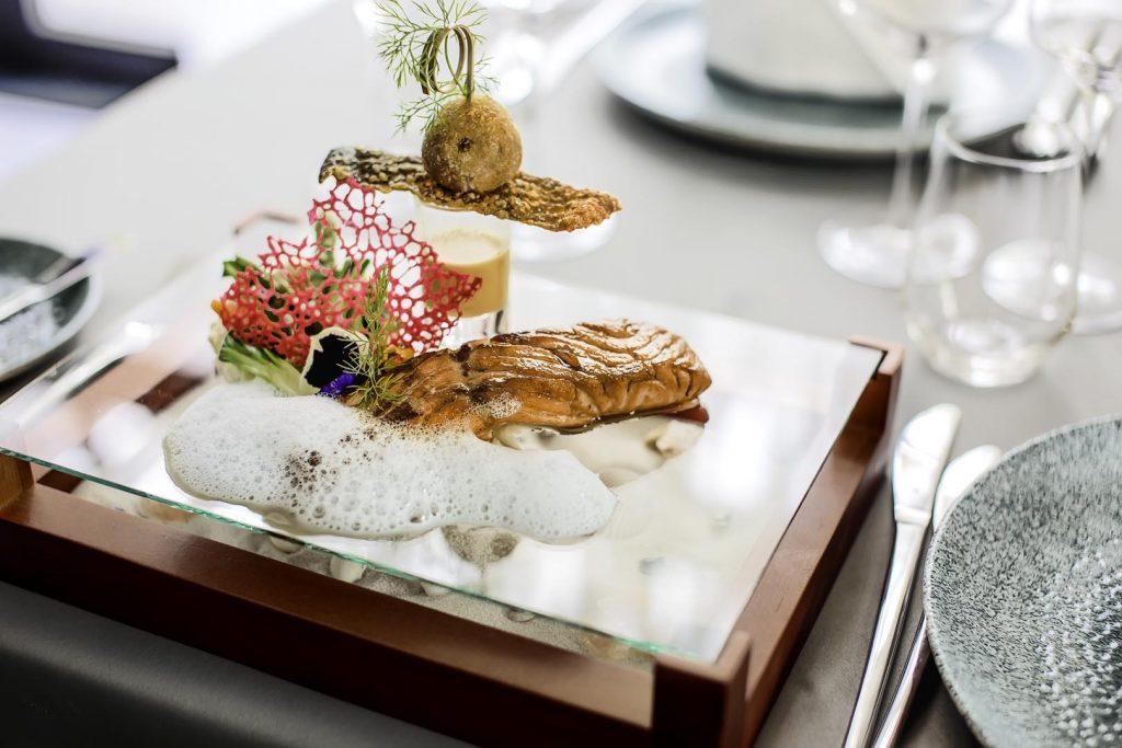 Poached sea bass