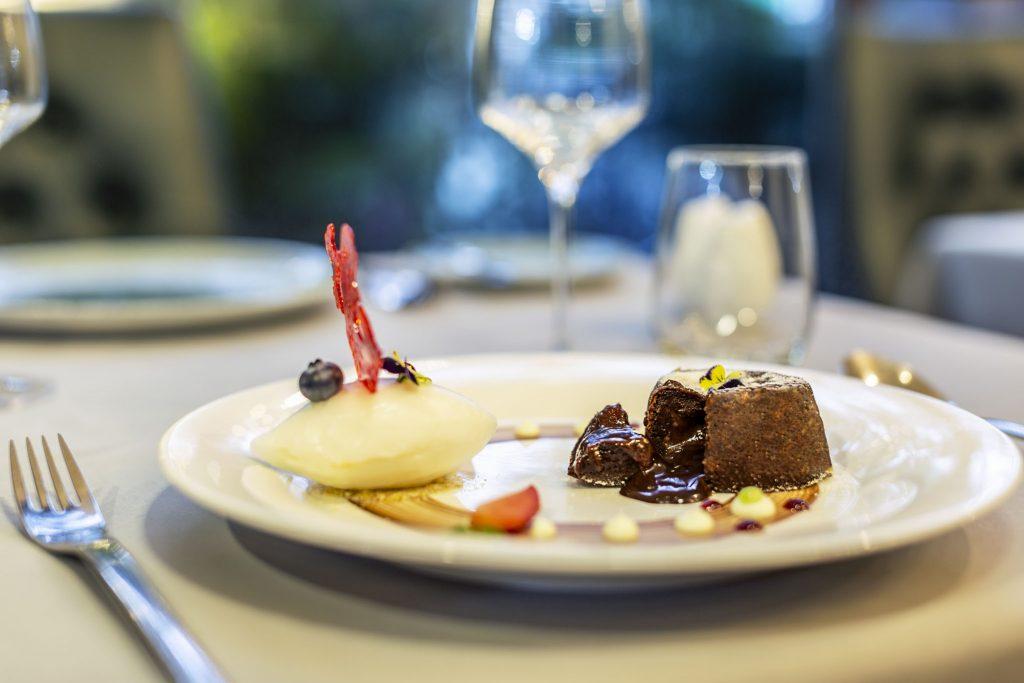 The Temptation-Dark & Gold Callebaut Chocolate Lava Cake